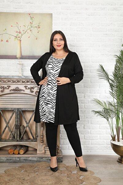 XL Modam Kadın Büyük Beden Ikili Görünümlü Tek Parça Tunik