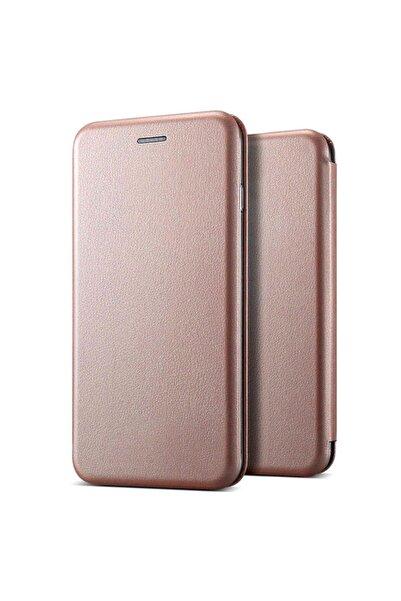 Microsonic Microsonic Galaxy M21 Kılıf Ultra Slim Leather Design Flip Cover Rose Gold