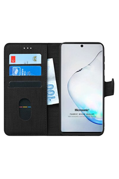 Microsonic Microsonic Galaxy Note 10 Plus Kılıf Fabric Book Wallet Siyah