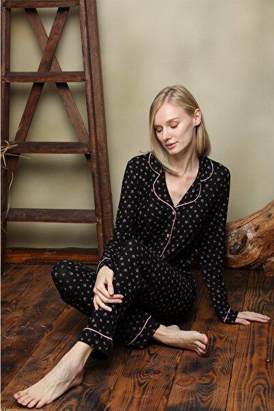 İPEKTENİM TEKSTİL Kadın Siyah Gömlek Pijama Takım