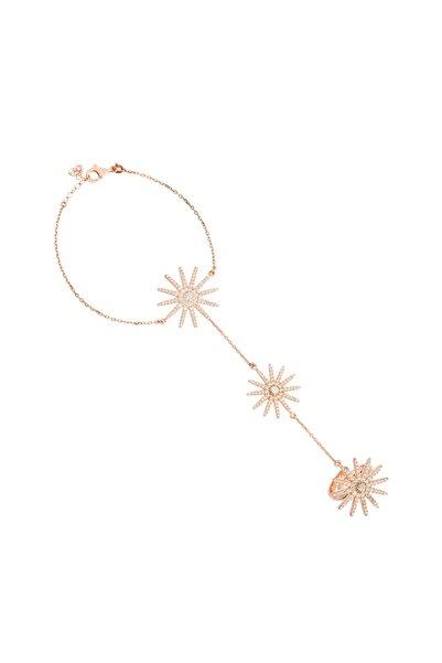 So CHIC... Kadın Rose Gold Geometrik Figürlü Taşlı Gümüş Kaplama Şahmeran