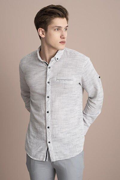 TENA MODA Erkek Siyah Uzun Kollu Çizgili Regular Hasır Koton Gömlek