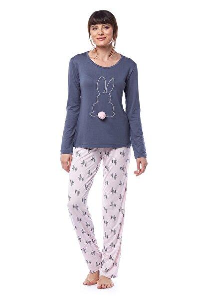 Pamuk & Pamuk Kadın Pudra Desenli Tavşanlı Pijama Takımı