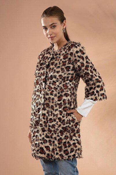 Y-London Kadın Kahve Leopar Sakallı Pullu Ceket 11605-3