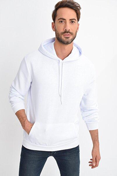 TENA MODA Erkek Beyaz Kapüşonlu Kanguru Cep Basic Sweatshirt