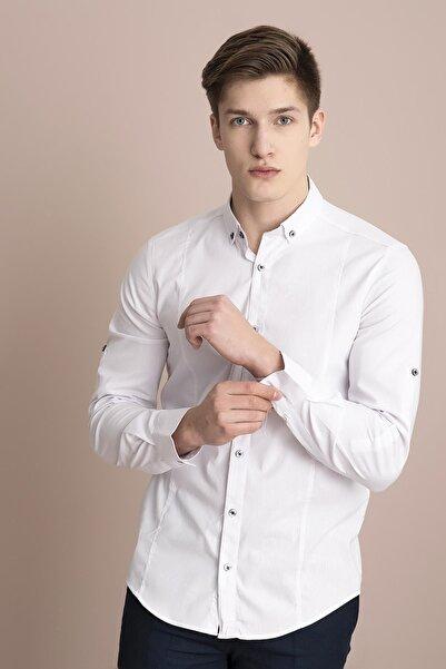 TENA MODA Erkek Beyaz Uzun Kol Slim Fit Likralı Basic Gömlek