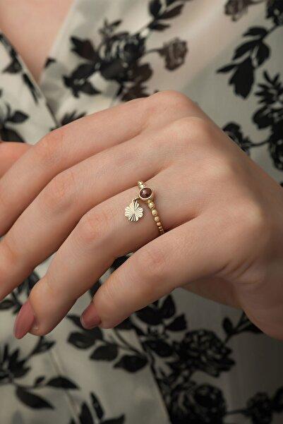 Papatya Silver 925 Ayar Gümüş Rose Altın Kaplama Ay Taşlı Yonca Desenli Kadın Yüzüğü