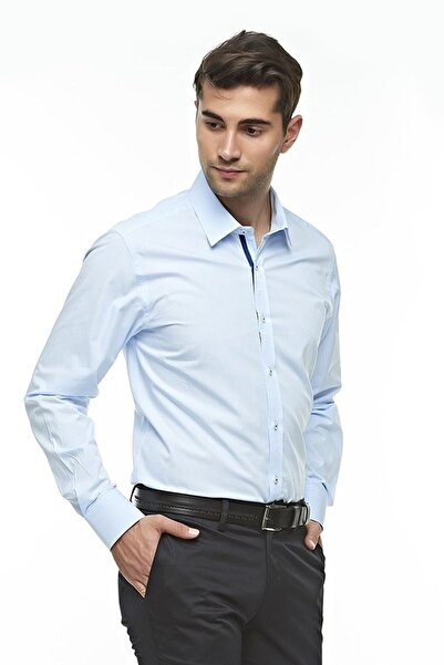 Ottomoda Erkek Mavi Uzun Kollu Klasik Gömlek