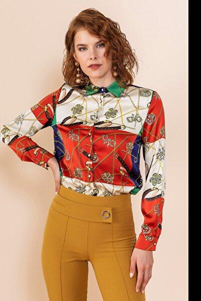 SERPİL Kadın Yeşil Zincir Baskılı Gömlek