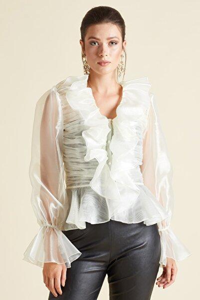 SERPİL Kadın Ekru Fırfırlı Organze Gömlek