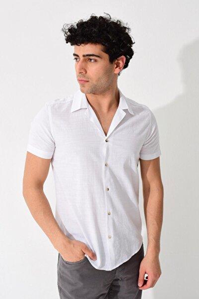 TENA MODA Erkek Beyaz Kısa Kollu Apaş Yaka Regular Keten Gömlek