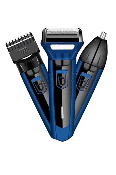 Avcill 3'lü Set Şarjlı Saç Sakal Tıraş Makinesi 3 In 1 Burun Kılı Alma 3 Başlıklı Bakım Seti Traş Makinası