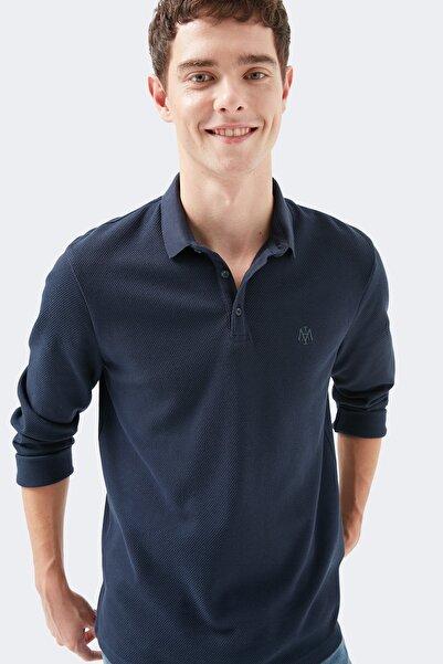 Mavi Uzun Kollu Kareli Lacivert Tişört