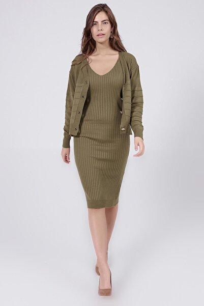 Y-London Kadın Yeşil Askılı Elbise Uzun Kollu Hırka İkili Triko Takım Y20W126-3402