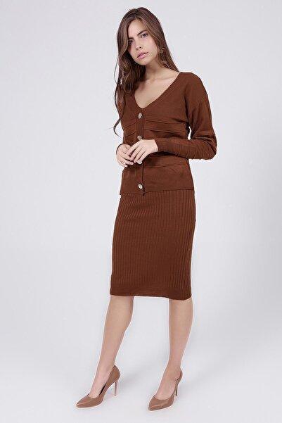 Y-London Kadın Kahve Askılı Elbise Uzun Kollu Hırka İkili Triko Takım