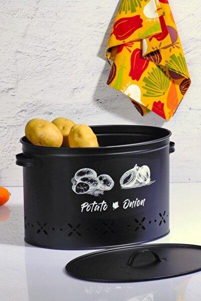 Royal Kitchen 2 Bölmeli Metal Patates Soğan Kovası Siyah 18 Lt
