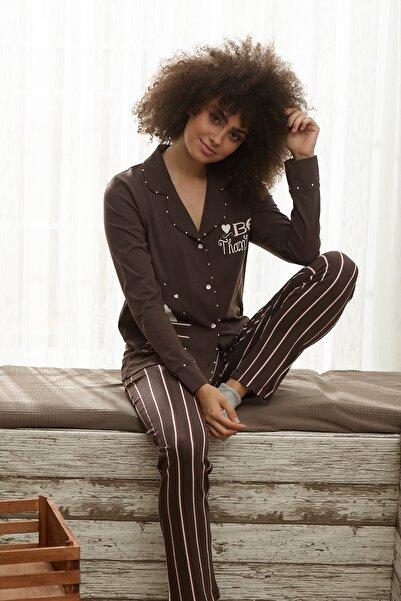 İPEKTENİM TEKSTİL Kadın Kahverengi Gömlek Pijama Takım