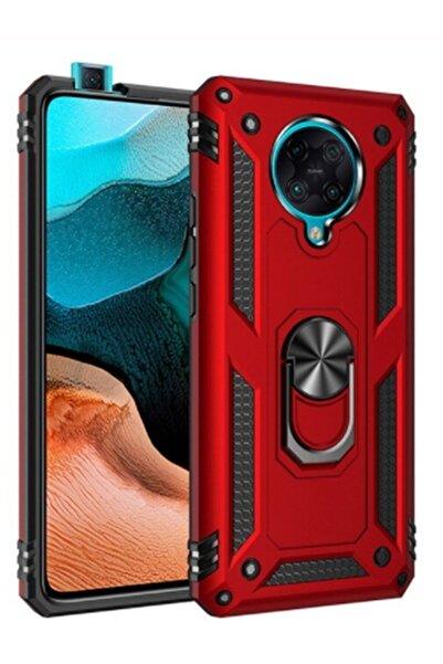 MobilCadde Eiroo Magnet Ring Xiaomi Poco F2 Pro Ultra Koruma Kırmızı Kılıf