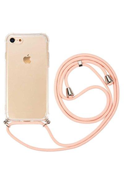 MobilCadde Iphone 7 / 8 Pembe Askılı Şeffaf Silikon Kılıf