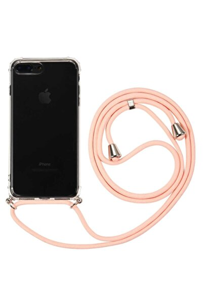 MobilCadde Iphone 7 Plus / 8 Plus Pembe Askılı Şeffaf Silikon Kılıf