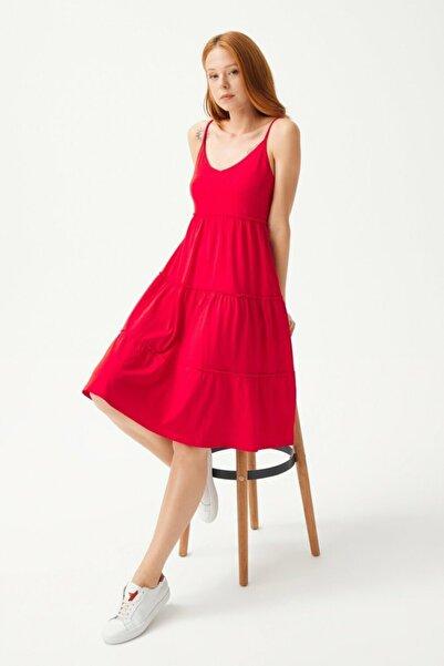 adL Kadın Kırmızı İp Askılı Elbise