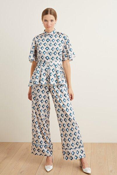 adL Kadın Mavi Beli Lastikli Pantolon
