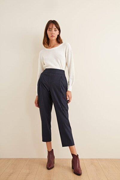 adL Kadın Lacivert Çizgili Pantolon