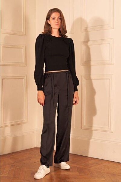 adL Kadın Siyah Beli Bağcıklı Saten Pijama Pantolon 15339410000