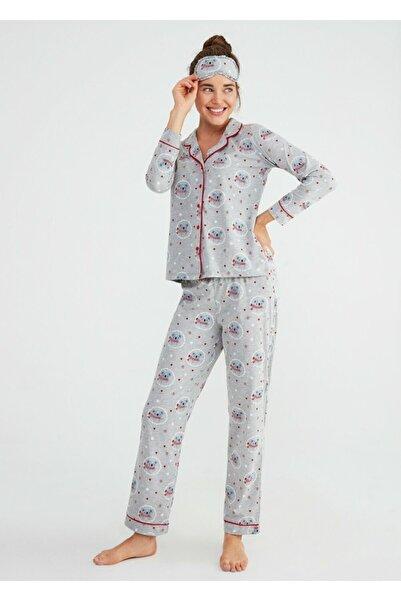 SUWEN Kadın Gri Baskılı Koalina Maskulen Pijama Takımı