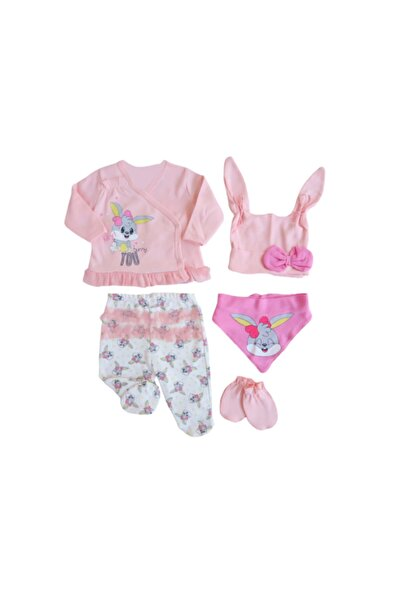 İmaj Kız Bebek Pembe Tavşan Baskılı 5 Parçalı Hastane Çıkışı