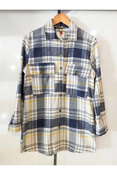 mağaza 35 Kadın Mavi Çift Cep Detaylı Gömlek Yaka Oversize Oduncu Gömleği