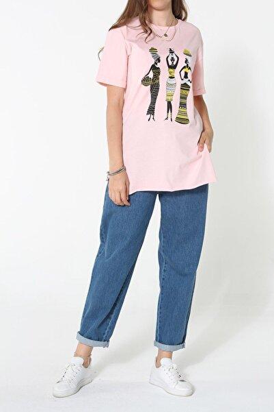 Ekrumoda Şeker Pembe Pamuklu Baskılı Kısa Kol T-shirt