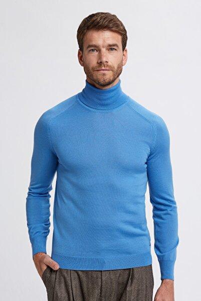 Hemington Erkek Koyu Mavi Boğazlı Slim Fit Merino Yün Triko Kazak