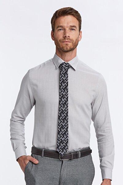 Hemington Erkek Açık Gri Kaşmirli Gizli Düğme Business Gömlek