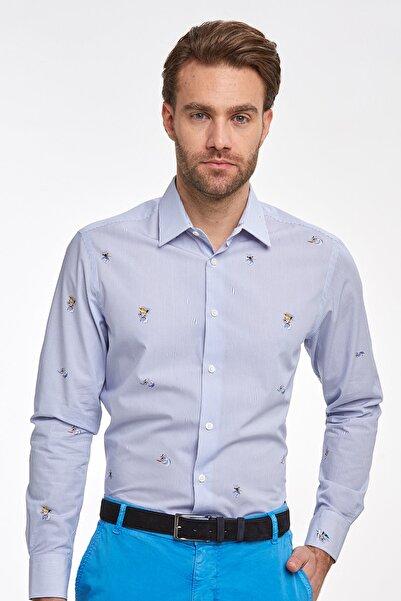 Hemington Erkek Lacivert Desenli Yazlık Pamuk Gömlek