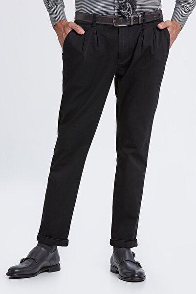 Hemington Erkek Pileli Rahat Kesim Siyah Chino Pantolon