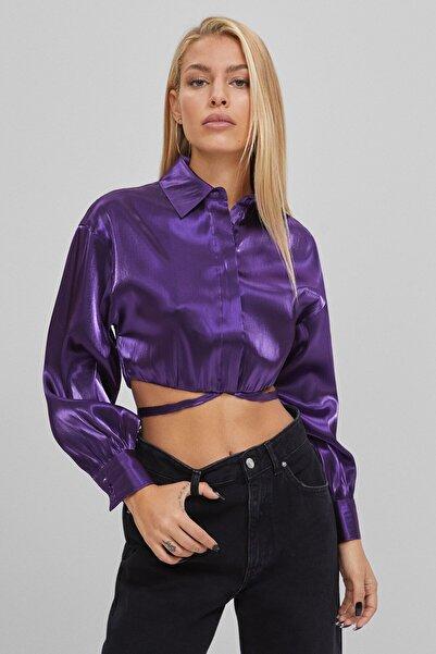 Bershka Kadın Mor Bluz