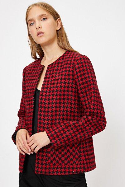 Koton Kadın Kırmızı Desenli Ceket