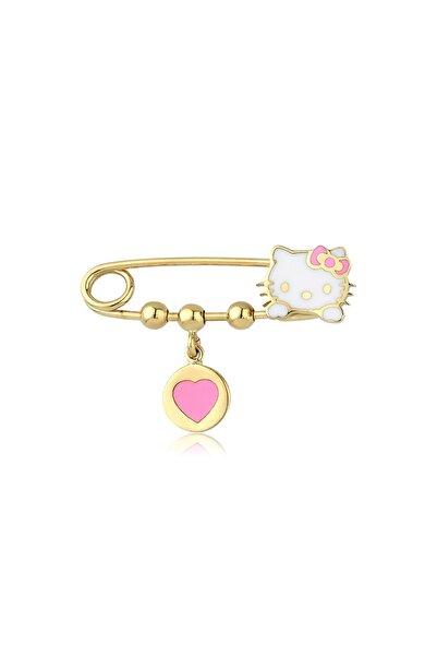 Hello Kitty Lisanslı Kız Çocuk Pembe 14 Ayar Altın Bebek İğne