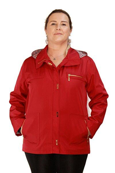 Fagi Kadın Büyük Beden Astarlı, Kapüşonlu Kırmızı Bondit Mevsimlik Yağmurluk Mont