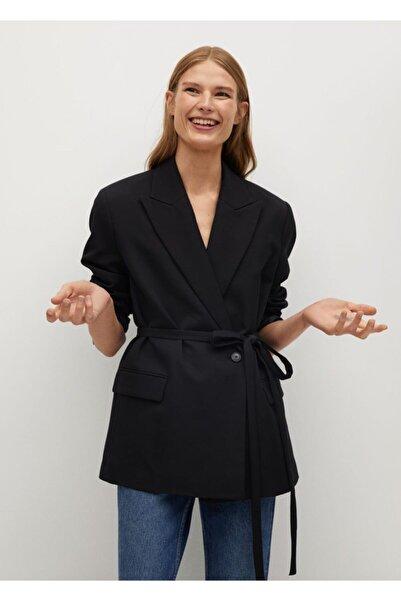MANGO Woman Kadın Siyah Kemerli Takım Blazer Ceket