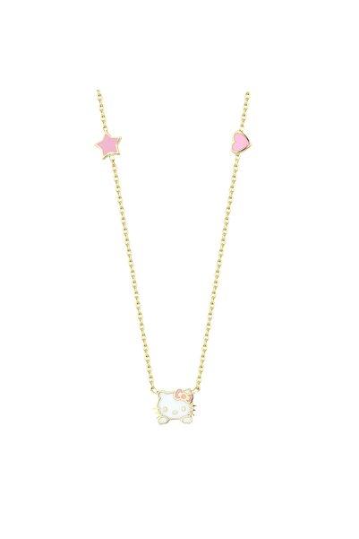 Hello Kitty Kız Çocuk Pembe 14 Ayar Altın Kolye