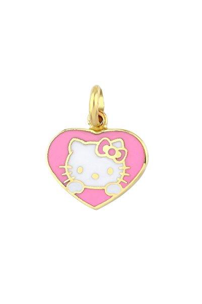 Hello Kitty Kız Çocuk Pembe 14 Ayar Altın Kolye Ucu