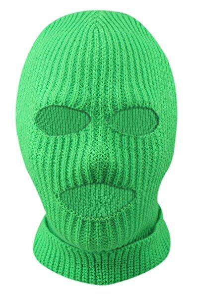 zirve şapka Kışlık Unisex 3 Gözlü Kar Maskesi Yeşil