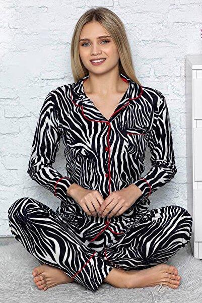 Jacob Carter Kadın Düğmeli Uzun Kol Örme Kışlık Bayan Pijama Takımı 9002