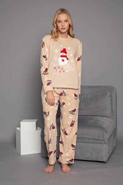 ELİTOL Kadın Bej Welsoft Pijama Takım