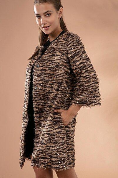 Y-London Kadın Siyah Leopar Sakallı Pullu Ceket Y19W127-11605-3