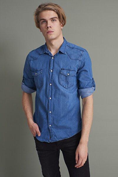 TENA MODA Erkek Mavi Uzun Kol Kapaklı Cep Sedef Çıtçıtlı Kot Gömlek
