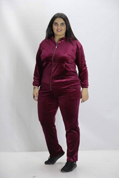Truva XXL Büyük Beden Kadın Giyim Kadife Eşofman Takımı