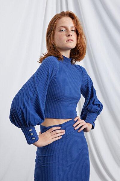 La Sarta Kadın Maria Lacivert Balon Kol Taş Düğmeli Kaşkorse Crop Bluz